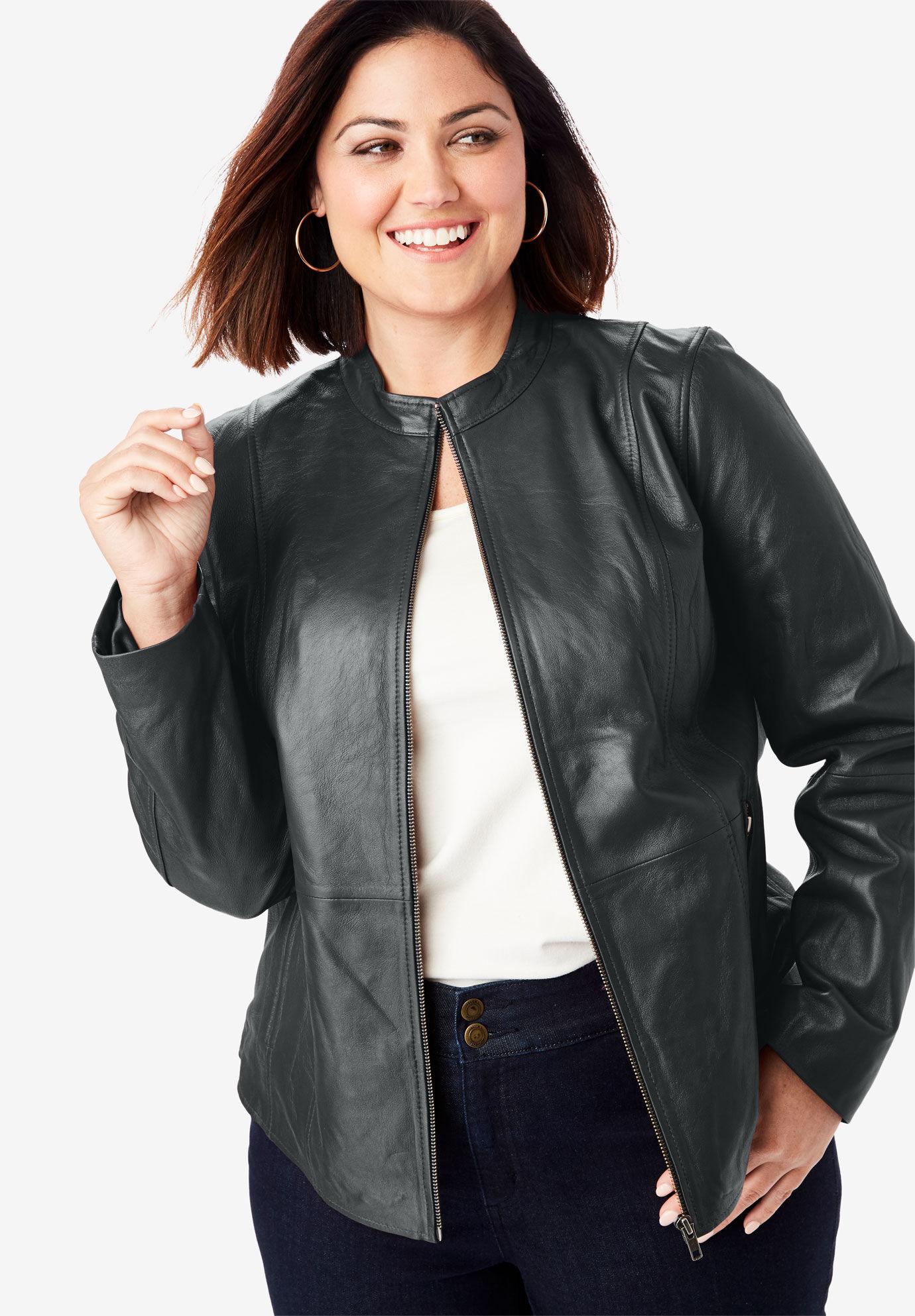 Roamans Womens Plus Size Classic Moto Jacket