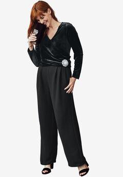 Velvet & Crepe Jumpsuit, BLACK, hi-res
