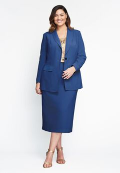 Single-Breasted Skirt Suit, ROYAL NAVY