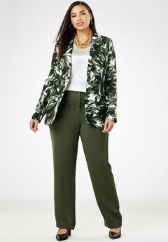 Single Breasted Pant Suit, OLIVE DUSK BRUSHSTROKE FLORAL