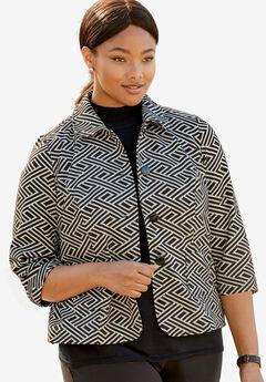 Patterned Knit Crop Jacket, BLACK IVORY, hi-res