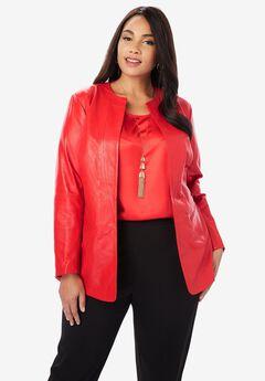 Collarless Leather Blazer,