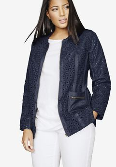 Eyelet Jacket With Denim Trim,