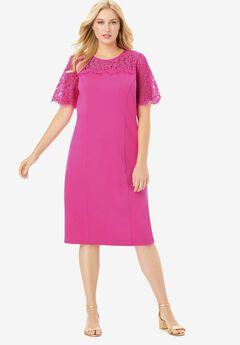 Lace Yoke Ponte Dress, TROPICAL RASPBERRY