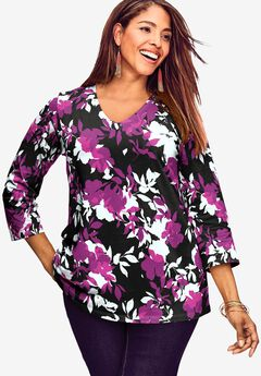 V-Neck Tee, PURPLE SHADOW FLORAL