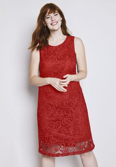 Lace Tank Shift Dress, NECTARINE, hi-res