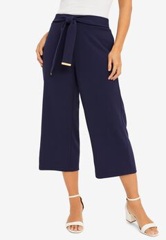 Knit Crepe Wide-Leg Crop Pant,