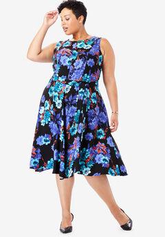 Tie-Waist Fit & Flare Dress,