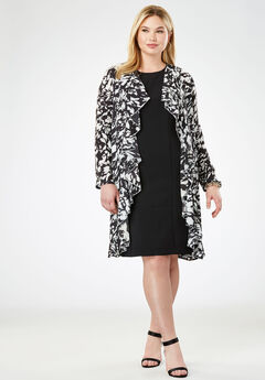 Cascade Jacket Dress, BLACK IVORY PAINT SPLATTER