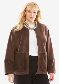 A-Line Faux Suede Jacket, CHOCOLATE, hi-res