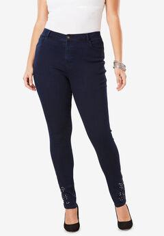 Embellished Ankle Jean, INDIGO EMBELLISHED