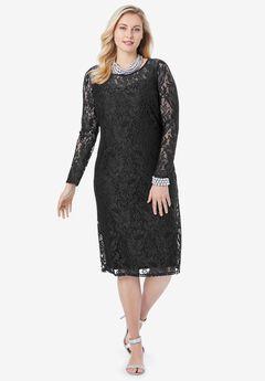Lace Shift Dress, BLACK