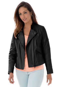 Quilted Leather Moto Jacket, BLACK, hi-res