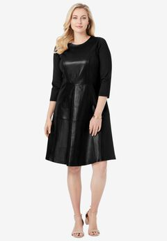 Leather and Ponte Knit Fit & Flare Dress,