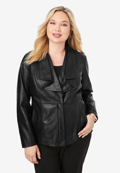 Leather Jacket With Ruffle Front, BLACK, hi-res