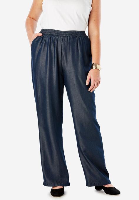 Tencel® Wide-Leg Pant  Plus Size Wide Leg & Palazzo Pants   Roaman\'s
