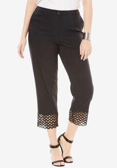 Lace Trim Crop Pant, BLACK, hi-res