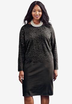 Ponte Lace Overlay Dress, BLACK, hi-res