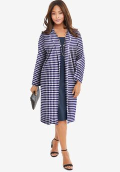 Ponte Jacket Dress, NAVY HOUNDSTOOTH