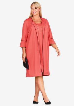 Bell Sleeve Ponte Jacket Dress, SUNSET CORAL