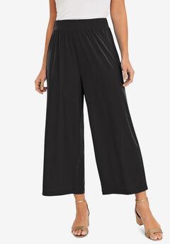 Stretch Knit Cropped Pants, BLACK, hi-res
