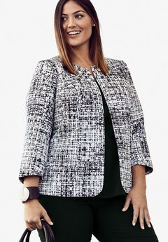 Collarless Blazer, BLACK WHITE GRAPHIC, hi-res