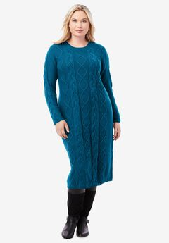 Cable Sweater Dress, PEACOCK TEAL