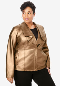 Drape-Front Leather Jacket,