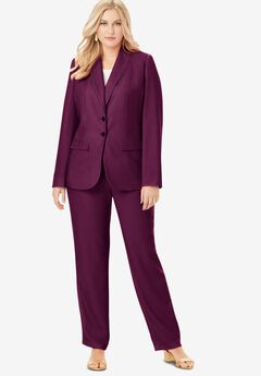 Single Breasted Pant Suit, DARK BERRY