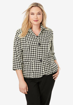Cropped Blazer, IVORY HOUNDSTOOTH