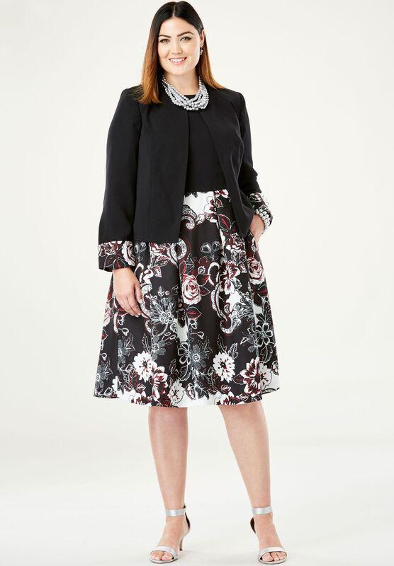 Colorblock Jacket Dress Plus Size Work Dresses Roaman S