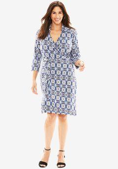 Imitation  Wrap Dress, TWILIGHT BLUE DIAMOND, hi-res