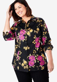 Poplin Shirt, BLACK BOUQUET