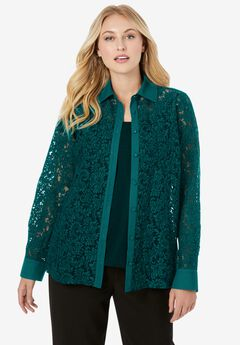 Lace Button-Front Tunic,