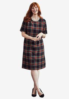 Embellished A-Line Dress, CLASSIC PLAID, hi-res