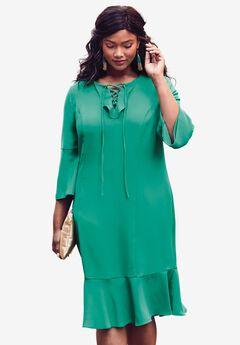 Flounce Dress, GREEN JADE, hi-res