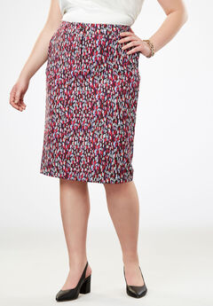 Tummy Control Bi-Stretch Short Skirt, MULTI BRUSHSTROKE