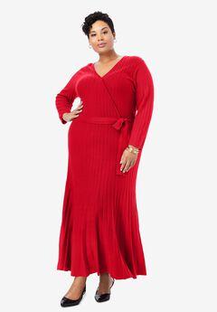 Wrap Sweater Dress, VIVID RED