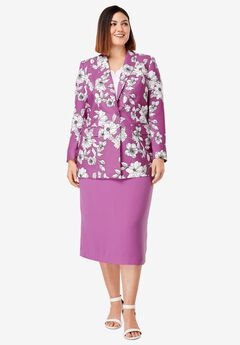 Single-Breasted Skirt Suit, FUCHSIA PINK BOTANICAL