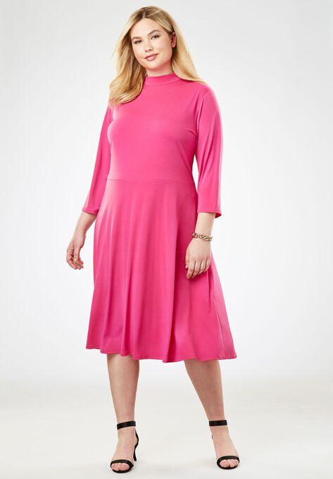 Travel Knit Fit Flare Dress Plus Size Knit Dresses Roamans