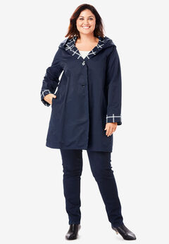 Reversible A-Line Raincoat, NAVY WINDOW PANE