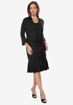Ponte Jacket Dress, BLACK, hi-res