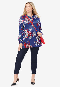 Silky Placket Front Blouse, ULTRA BLUE OUTLINE FLORAL
