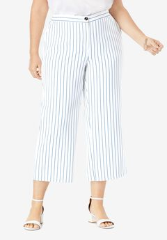 Bi-Stretch Wide Leg Crop Pant,
