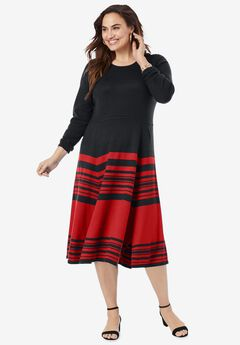 Fit and Flare Sweater Dress, BLACK CLASSIC RED