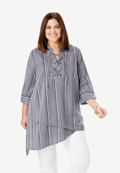 Lace-Up Georgette Tunic,