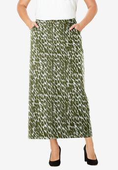 Classic Cotton Denim Long Skirt, OLIVE GRAPHIC ANIMAL