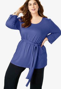 Belted Knit Tunic, ULTRA BLUE