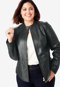 Zip Front Leather Jacket, BLACK, hi-res