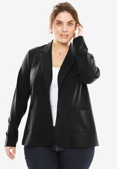 Ponte Knit Blazer with Notch Collar, BLACK, hi-res